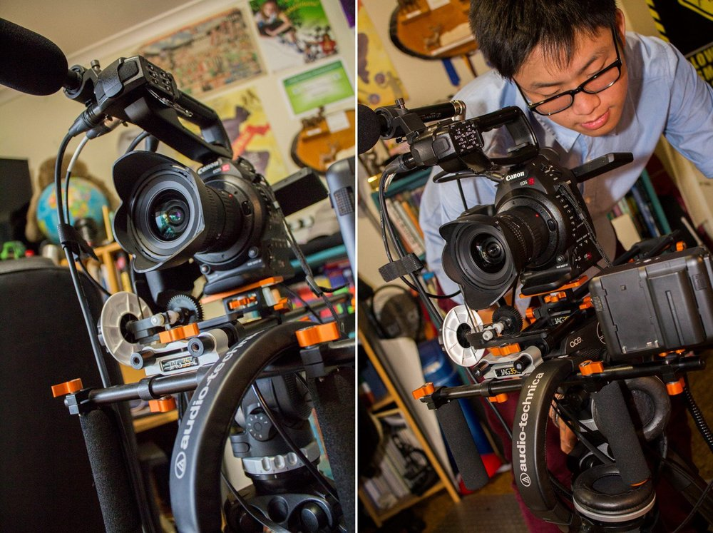 Back in 2014, the rigged up C100 being operated by my friend Benjamin Ling.