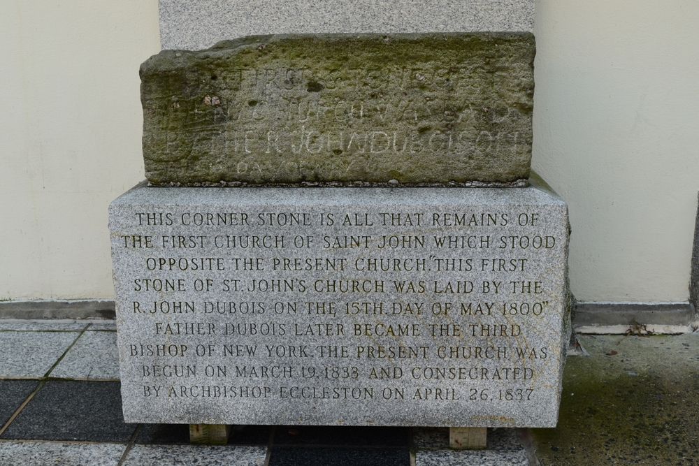 First stone of St. John's Catholic Church