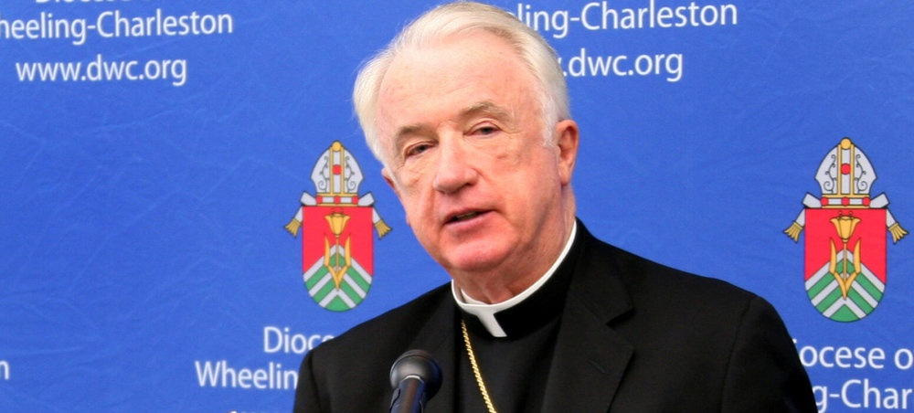 Bishop Michael J. Bransfield of Wheeling-Charleston, W.Va., is shown at a 2012 press conference. Pope Francis accepted Bishop Bransfield's resignation as bishop of the diocese Sept. 13 and appointed Archbishop William E. Lori as apostolic administrator. (CNS photo/Tim Bishop, Catholic Spirit)