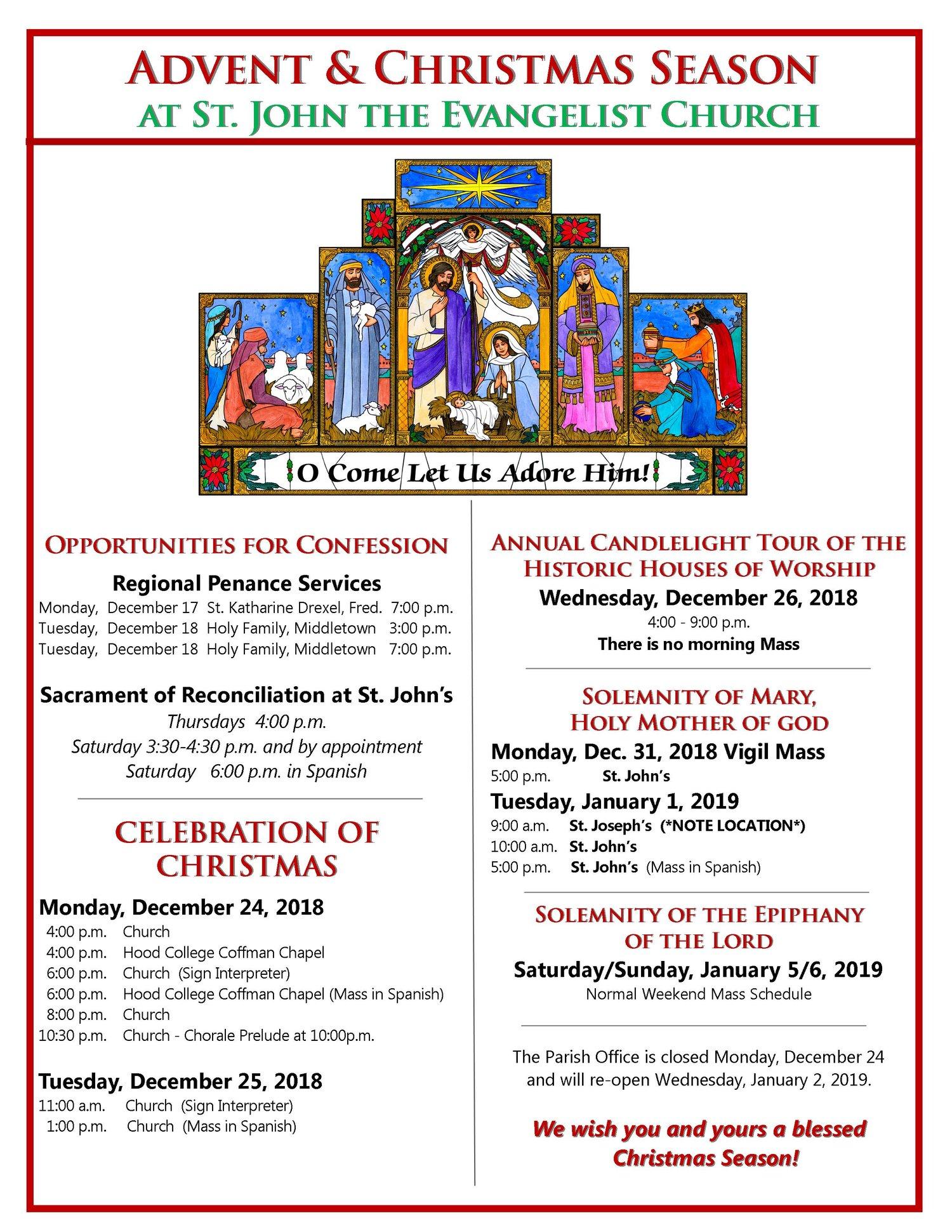Christmas Season Schedule St John The Evangelist