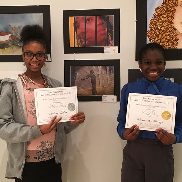 """So proud of our Scholastic Art and Writing Award winners! Speaker Dr. Kimberly McLeod encouraged the creative students, """"You can't shrink your life to fit into someone else's reality."""" #dreambig #fineartsmakesadifference #kipphouston #scholasticartawards"""