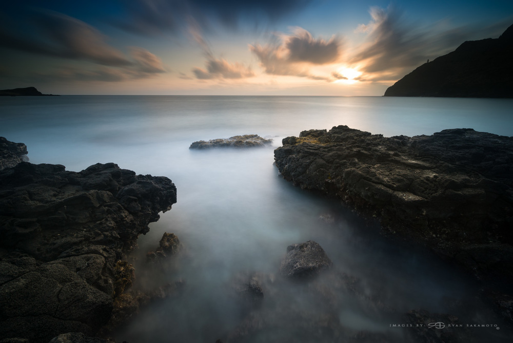 Sunrise at Makapuu Beach Park Sony A7S II / Sony Zeiss 16-35 / f/4 121 sec. / f/8 / ISO 50 Stacked Lee Filters Big Stopper, 3 stop hard grad & 3 stop soft grad.