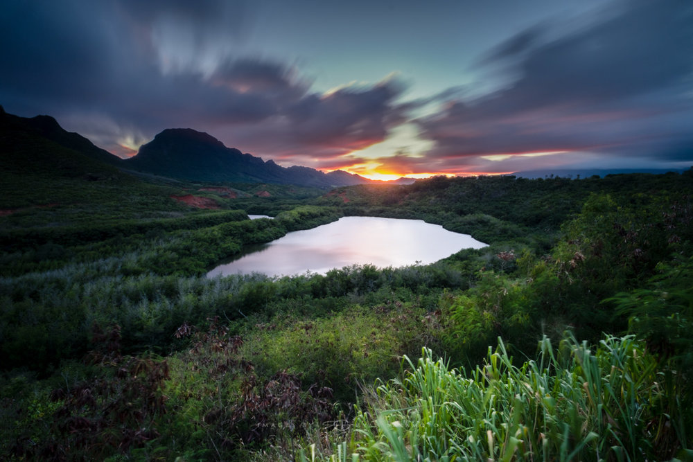 Kauai Sunset Menehune Fishpond Lee Filter Big Stopper & 3 stop medium grad Fuji XPro 2    |    60 sec.    |    f/18    |    ISO 200    |    Zeiss Touit 2.8/12mm Edited in Lightroom & Photoshop CC 2015 Copyright 2016 Ryan Sakamoto, All rights reserved