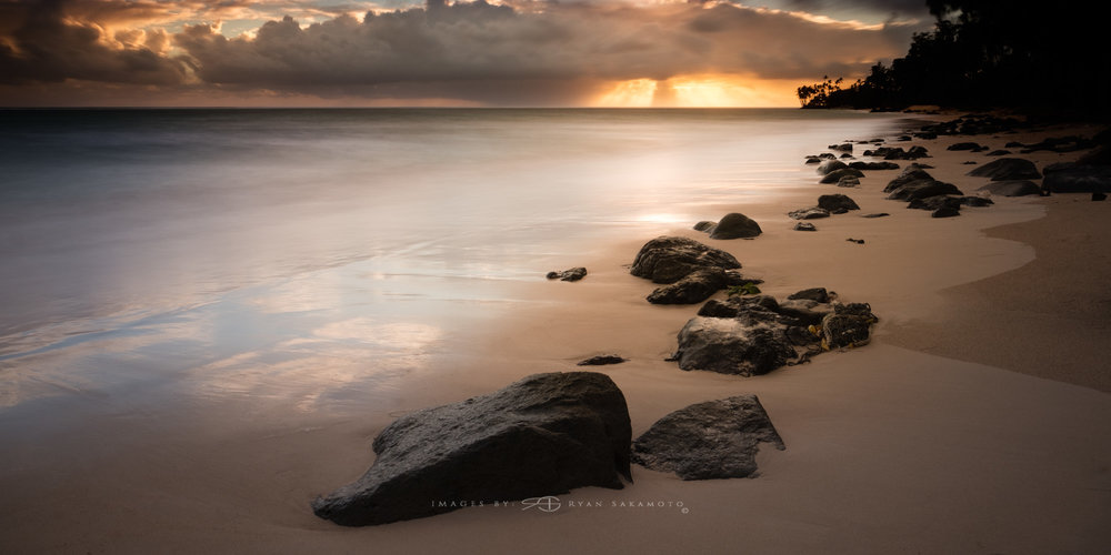 Punalu'u Golden Sunrise  Lee Filter Big Stopper & 3 stop medium grad  Fuji XPro 2    |    30 sec.    |    f/11 |    ISO 200    |       XF16mm f/1.4 R WR  Edited in Lightroom & Photoshop CC 2015  Copyright 2016 Ryan Sakamoto, All rights reserved