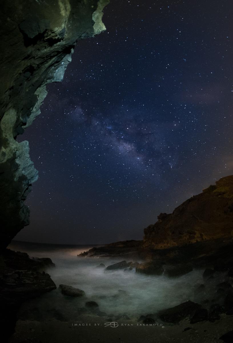 Milky Way from Somewhere on the Eastside Honolulu,Hawaii Fuji XT2  |  30 sec. |  f/8 |  ISO 1600  | Rokinon 8mm F2.8 UMC Fisheye II Edited in Lightroom & Photoshop CC 2017 Copyright 2017 Ryan Sakamoto, All rights reserved