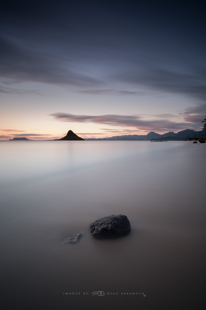 Sunrise from Kualoa Beach Park, Honolulu, Hawaii  Fuji XT2  |  240 sec. |  f/8  |  ISO 100  |   Rokinon 12mm F/2 NCS  Edited in Lightroom CC 2017 Copyright 2017 Ryan Sakamoto, All rights reserved