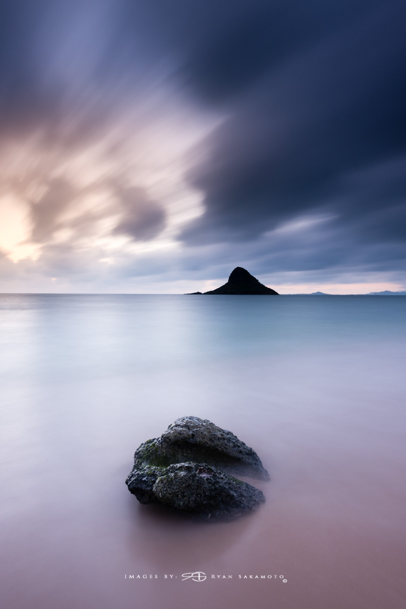 Sunrise from Kualoa Beach Park, Honolulu, Hawaii Fuji XT2    |    60 sec.    |    f/8   |   ISO 100 |   Fujinon XF 10-25mm F/4 R OIS BREAKTHROUGH PHOTOGRAPHY X4 stacked filters, 3-stop soft 100x150mm GND, 3-stop hard reverse 100x150 Grad & 6-stop 100mm ND Edited in Lightroom Classic CC & Photoshop CC 2018 Copyright 2017 Ryan Sakamoto, All rights reserved