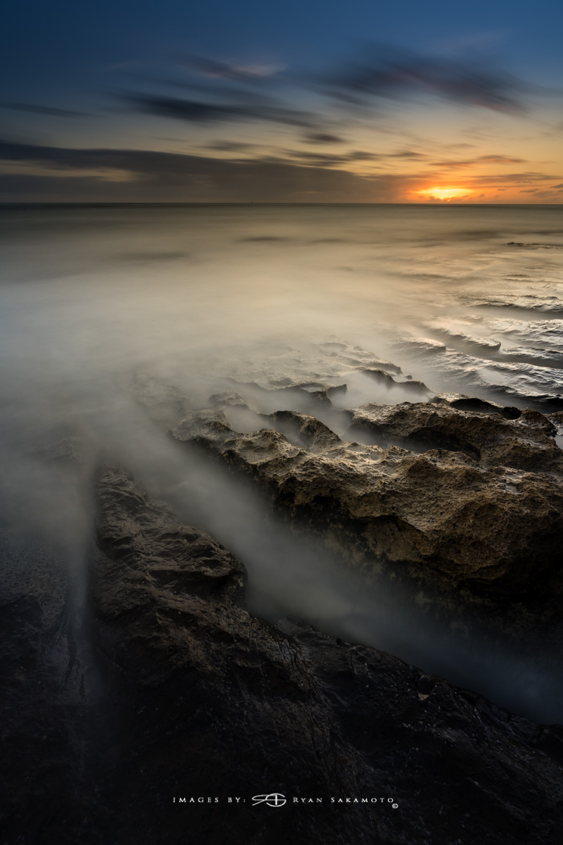 Sunrise from the Eastside, Hawaii  Sony A7R III    |    182 sec.    |    f/8   |   ISO 50 |   Sony FE 16-35mm GM F/2.8    BREAKTHROUGH PHOTOGRAPHY X4 stacked filters, 10-stop 100x100mm ND, 3-stop hard reverse 100x150  Edited in Lightroom Classic CC 2018 Copyright 2018 Ryan Sakamoto, All rights reserved