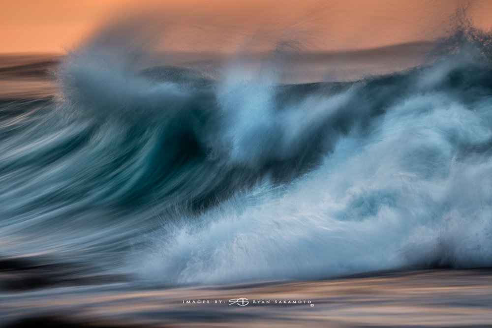 Sunrise from Sandy Beach, Hawaii Fine Art, Long Exposure, Wave Photography  Sony A7R III    |      1/6 sec.    |  f/8  |   ISO 50   |     S  ony FE 100-400mm GM OSS    Edited in Lightroom Classic & Photoshop CC 2018 Copyright 2018 Ryan Sakamoto, All rights reserved