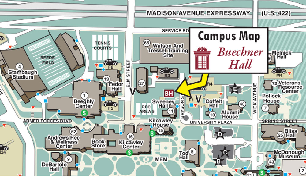 Youngstown State University Campus Map.Buechner Hall