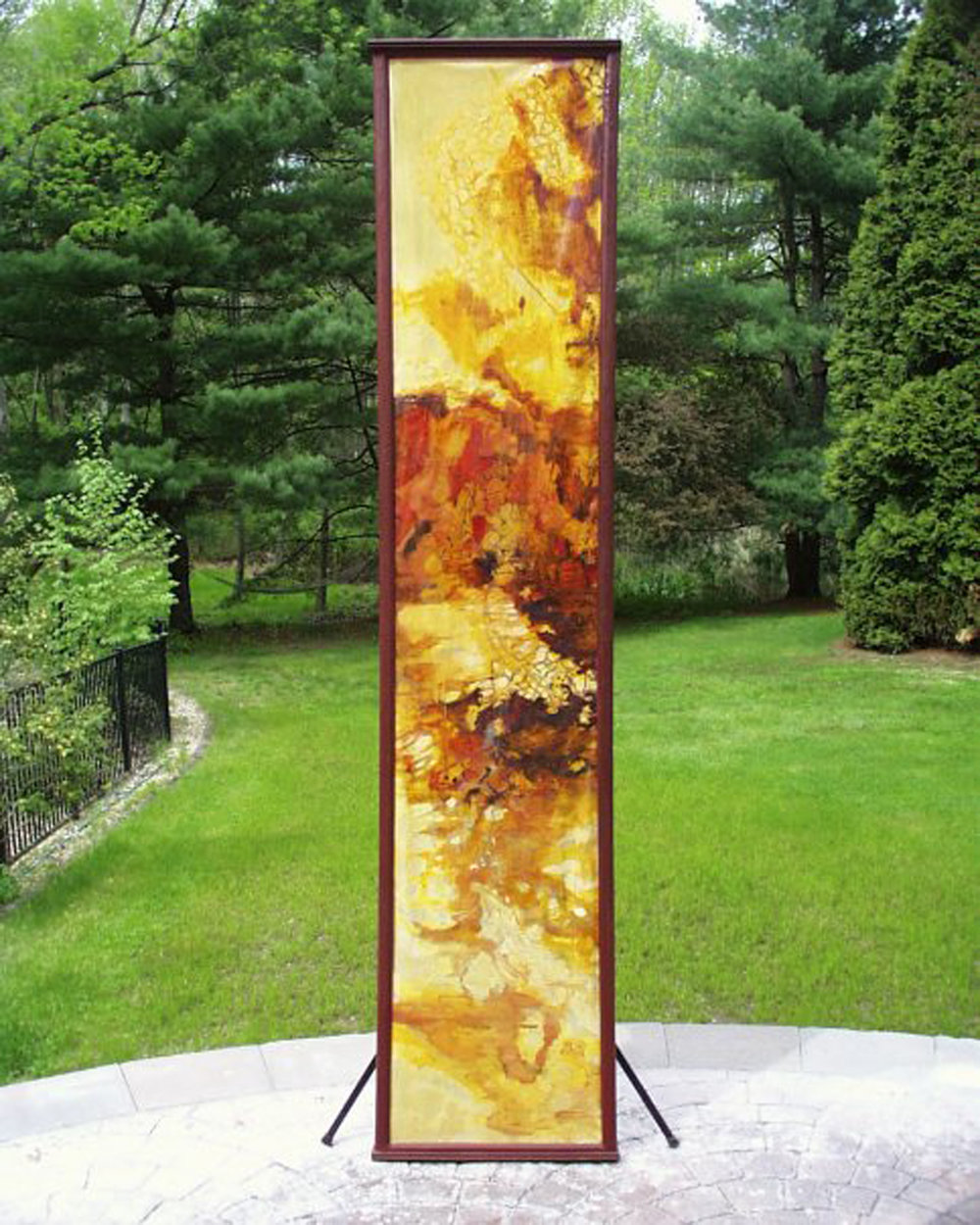 "Shadow Scroll #2  oil on stretched paper with custom wooden frame   36"" x 111"""