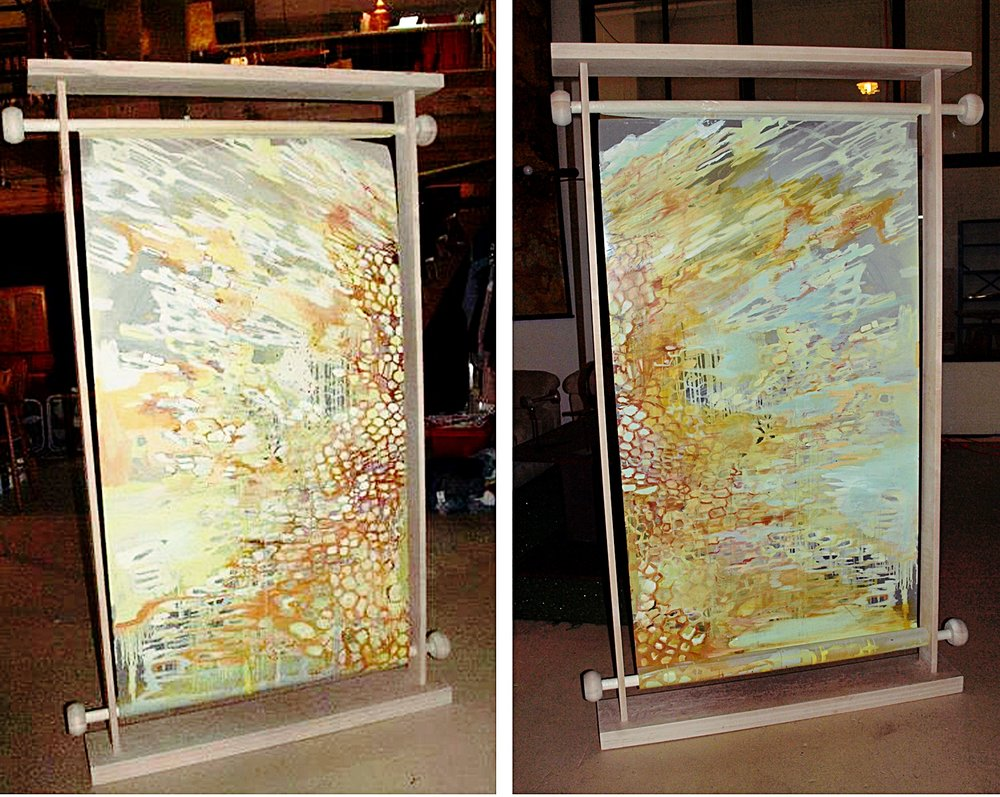 "Beehive  oil on mylar with wooden scroll frame  6"" x 48"""