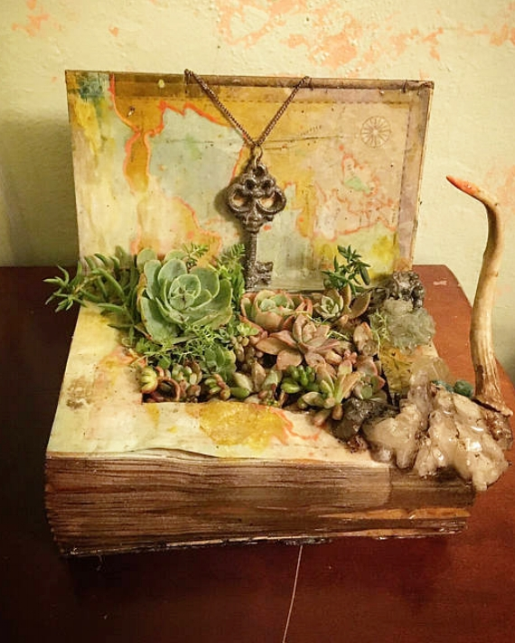 "Knowledge of the Old World Magic      resin book with found art sculpture & succulent garden   12"" x 6"" x 4"""