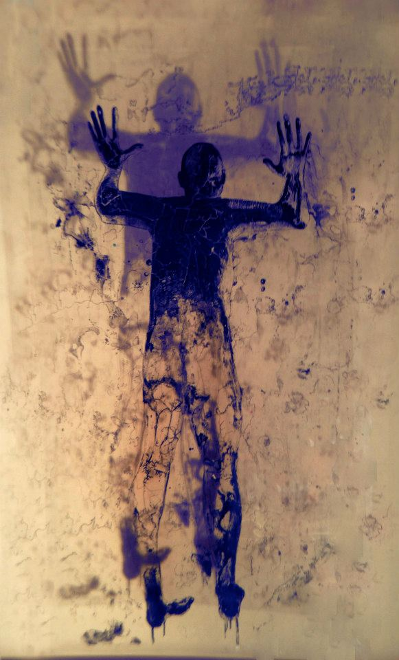 "Shadow Man ink on plexiglass 72"" x 48"""