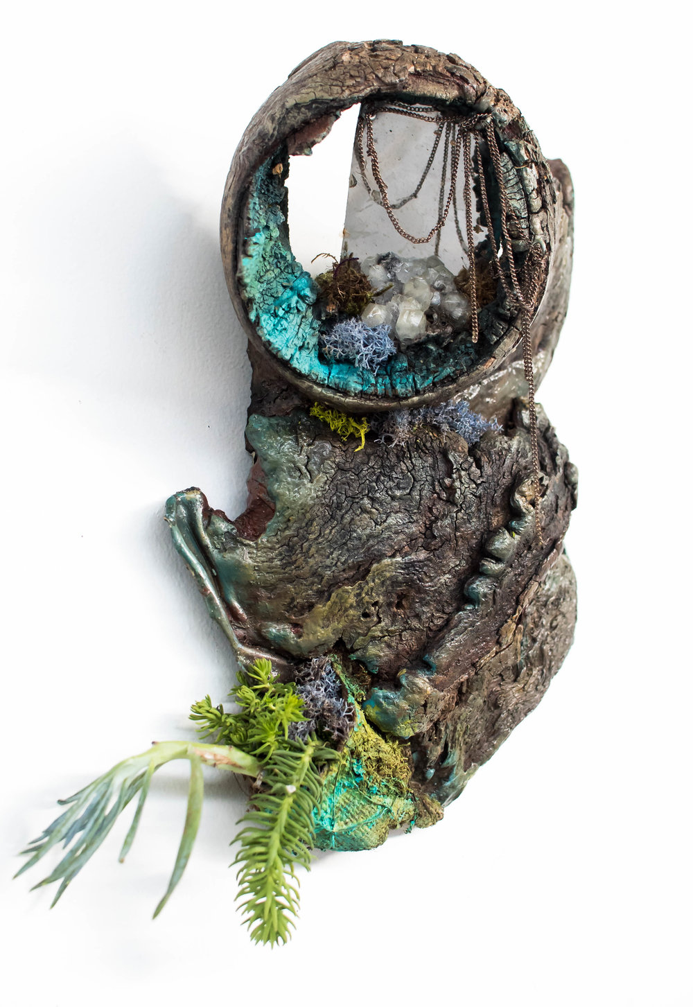 "Reflections at the Altar    scavenged driftwood, chains, mirror & hanging succulent garden  12"" x 6"" x 4"""