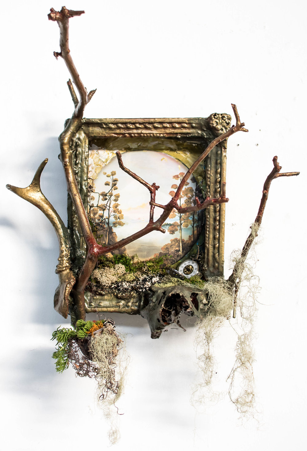 "Roots for the Fae Spirit    Vertical Garden and Upcycled Frame   20"" x 20"""