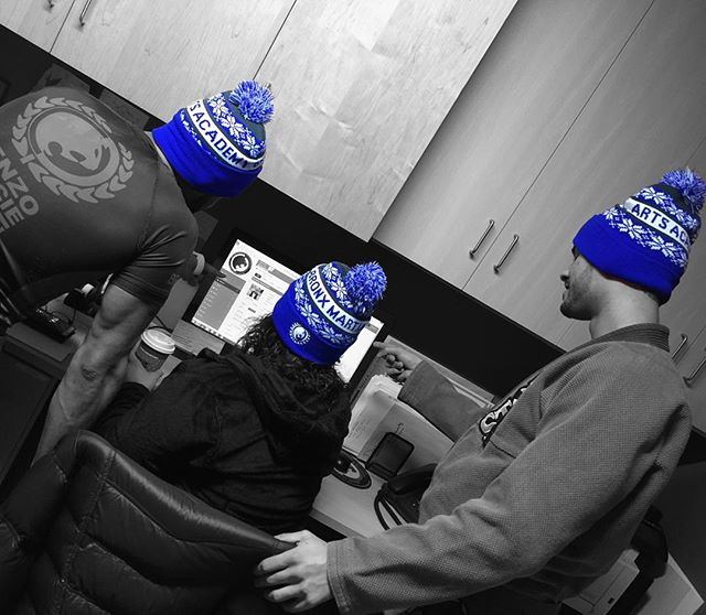 Keeping warm in the office with our new been idea. Come get them while they're hot..... ;) #beanie #teambmaa #martialarts #wintertime