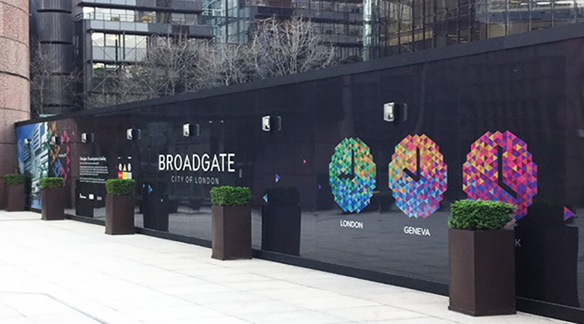 Broadgate, UK: a clever series of graffiti-proof hoardings by Williams Murray Hamm