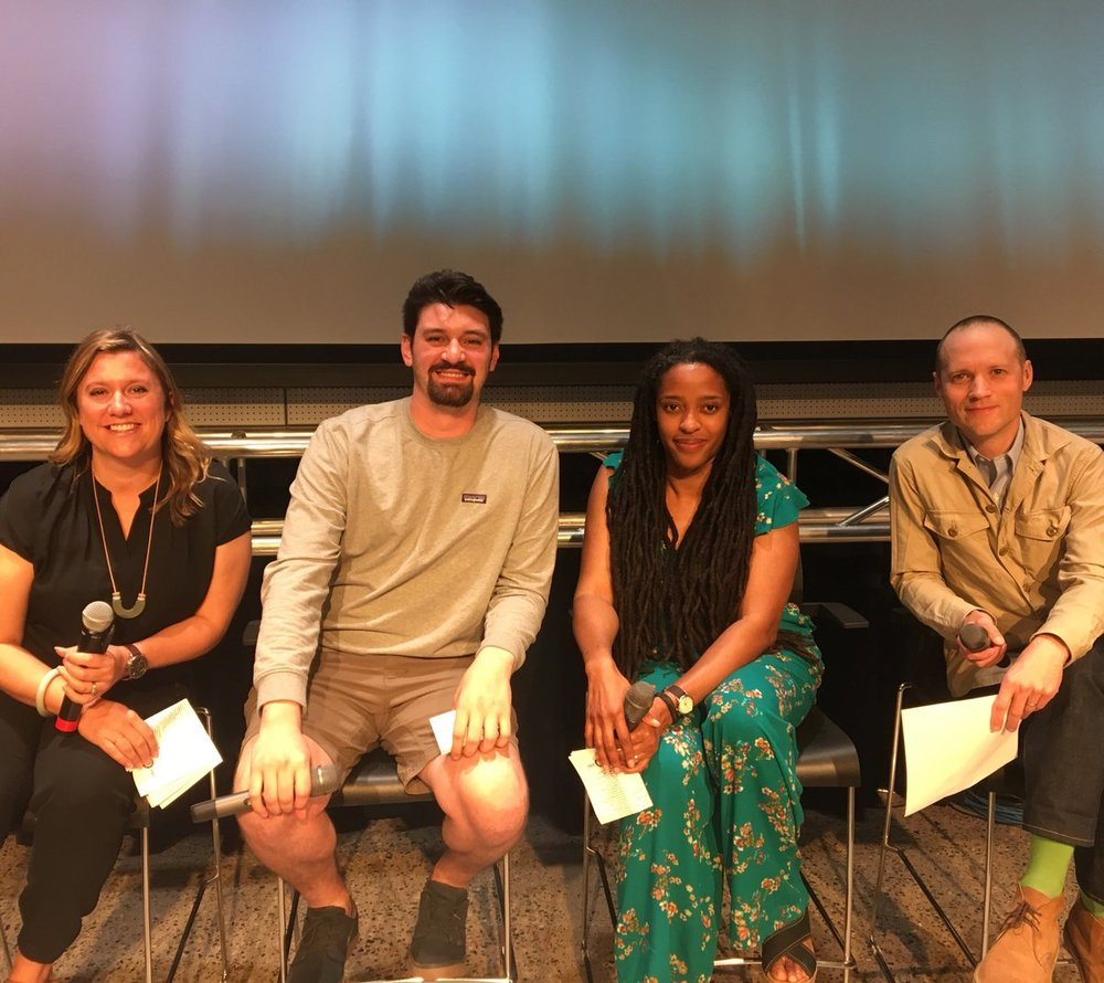Panelists for TPT's Great American Read Kickoff. From L-R: Steph Opitz, founding director of the Wordplay conference at the Loft Literary Center; Matt Keliher, manager of Subtext Books; Anitra Budd, editor and copywriter; and Andrew Karre, executive editor at Dutton Books for Young Readers.