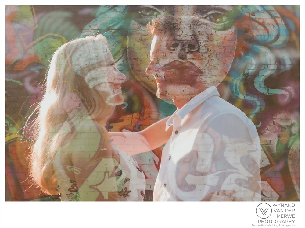 Christiaan & Mireille on their engagement shoot, double exposure
