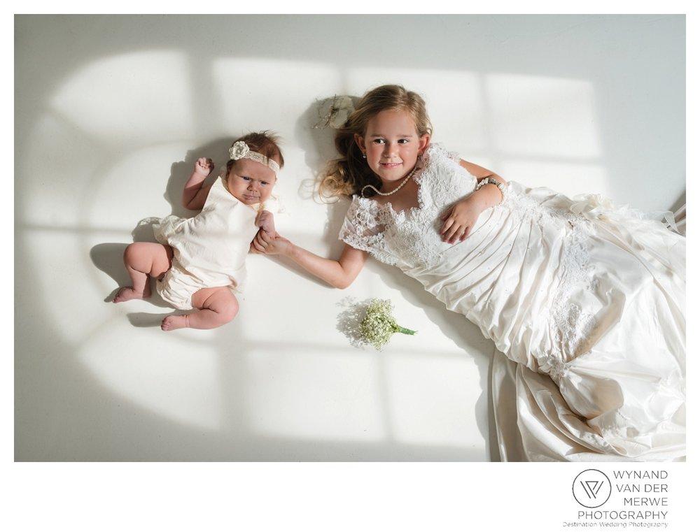 A little girl in her mom's wedding dress