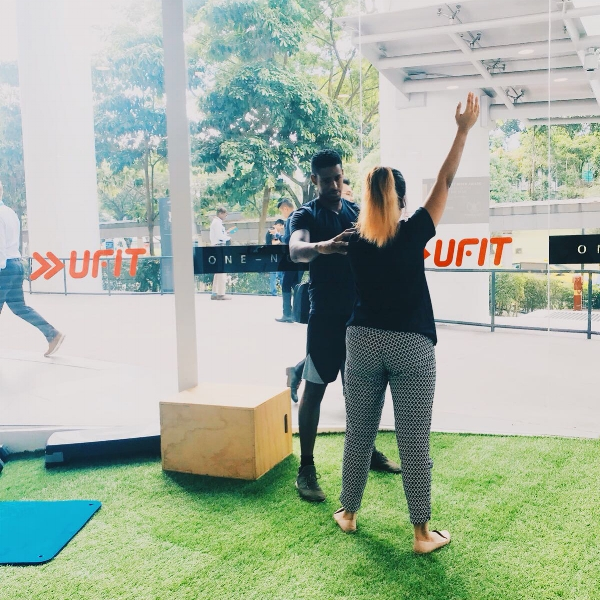 UFIT Senior Physiotherapist Daniel working on restoring shoulder mobility with a client.