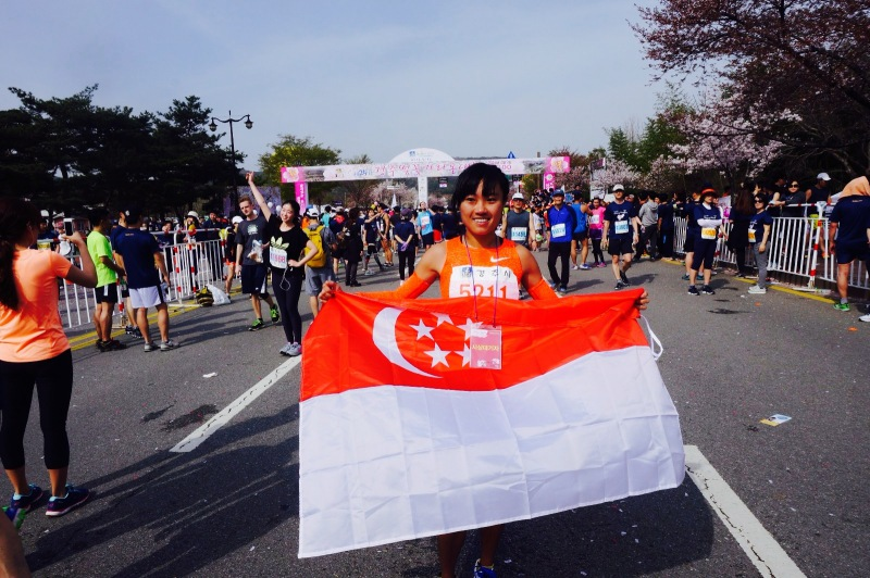 The author Mok Ying Rong has represented Singapore in multiple international run meets.