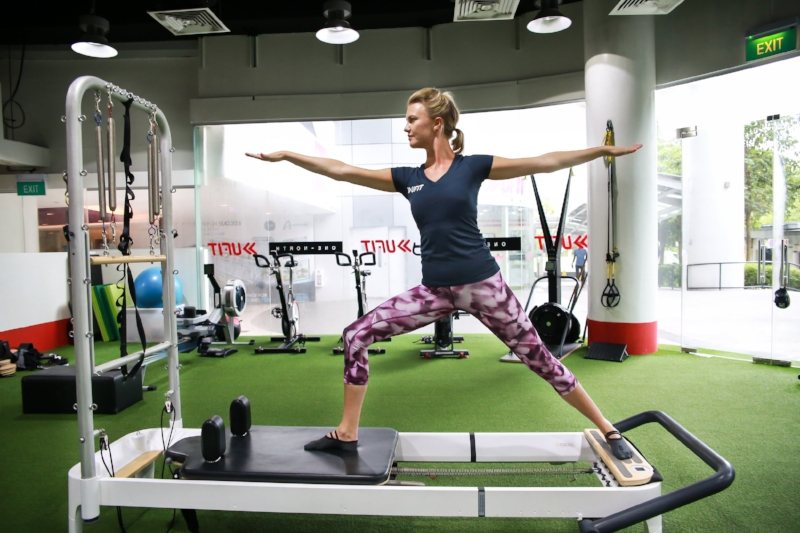 Pilates reformer The reformer helps to correct body imbalances by increasing awareness of core and gluteal activation.