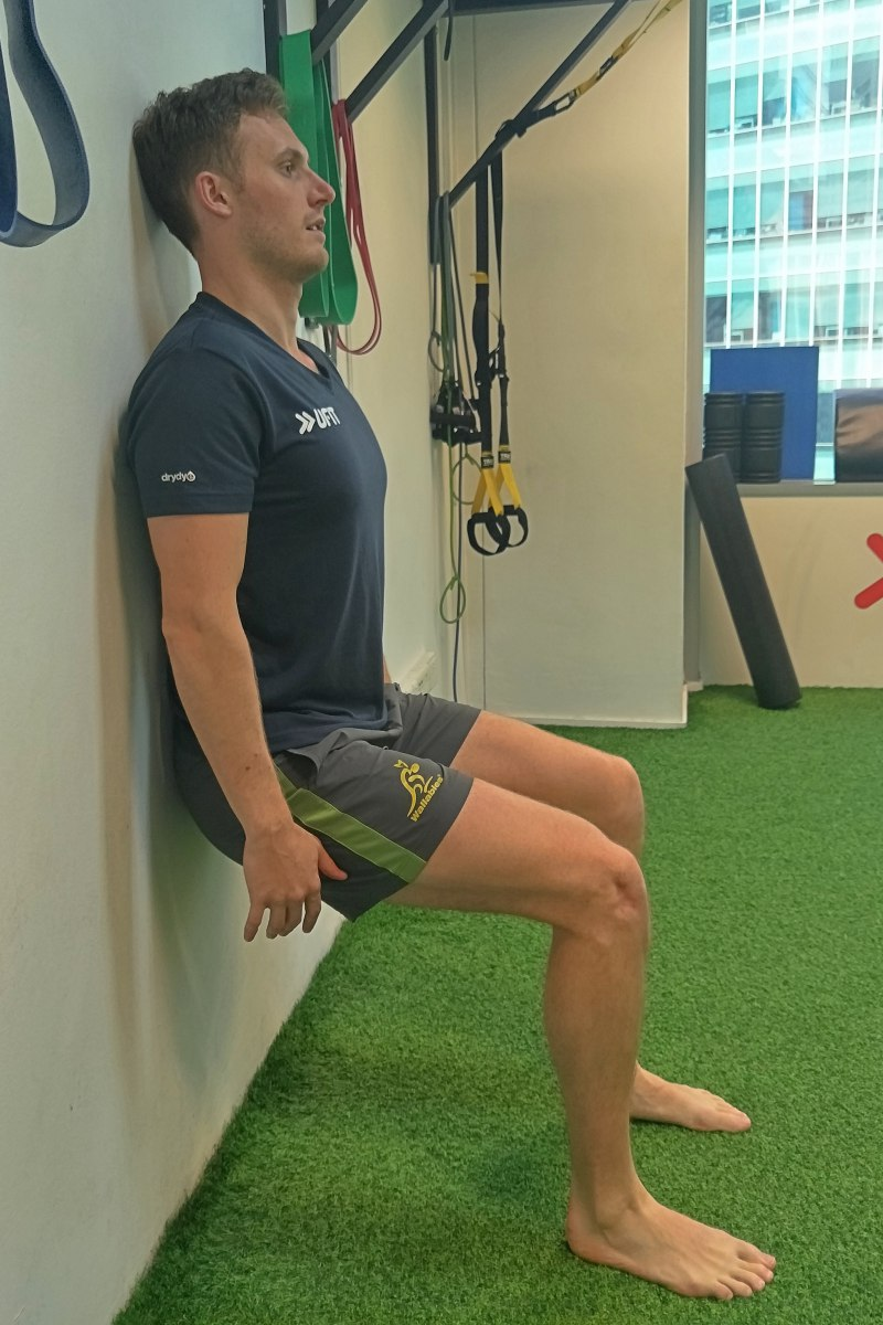 4. Wall squats - these can be done as holds in the bottom position.