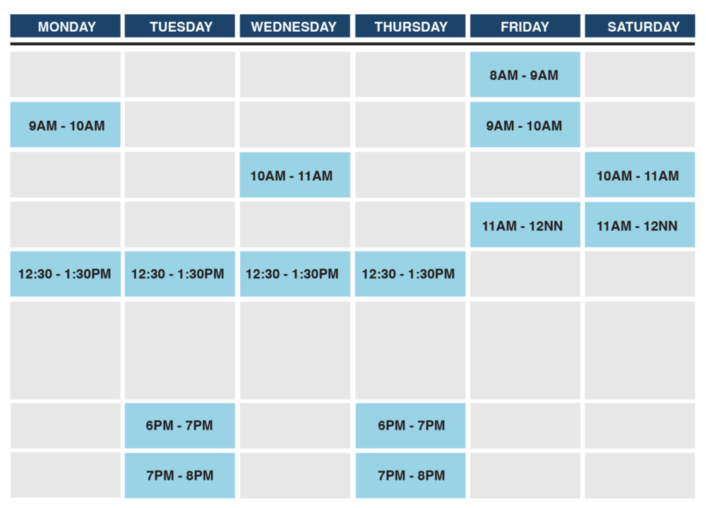 *Schedule is subjected to revision at the discretion of the Clinic, please check with us for confirmation.