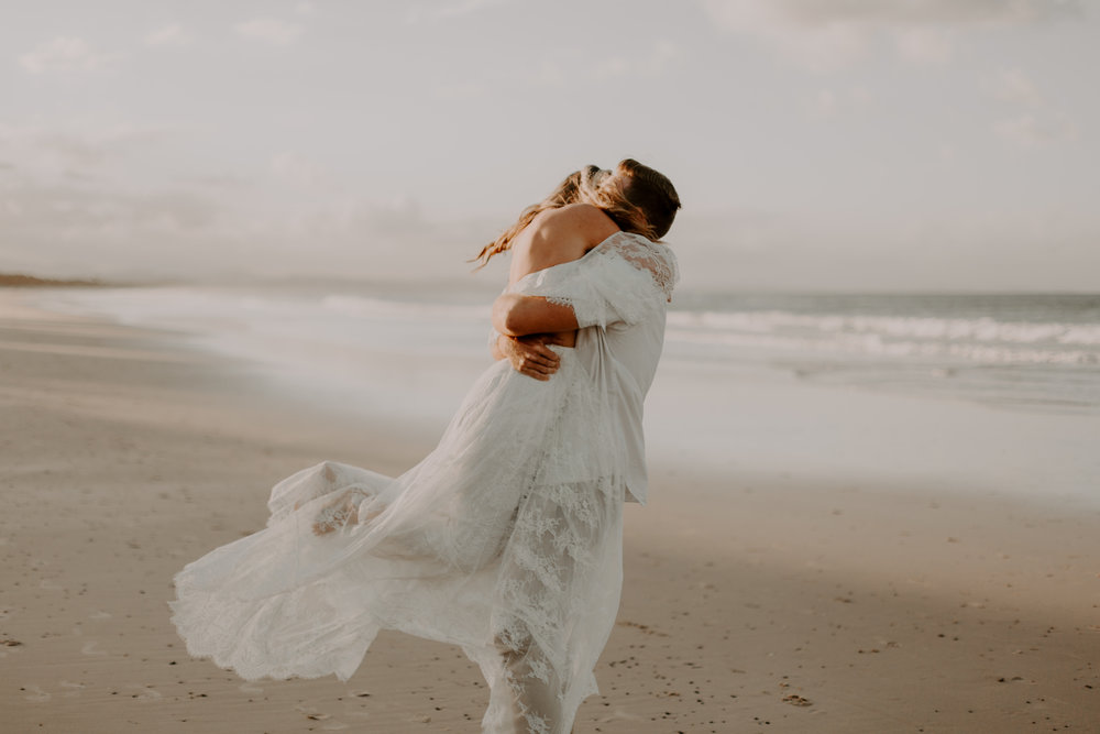 Byron Bay Sunset Elopement - An intimate and candid Belongil Beach Elopement with The French Petal, Byron Beauty Bar, Wild Goat Events, Grace Loves Lace and Tessa Shannon Photography