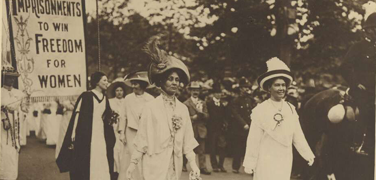 Coronation Procession, 11 June 1911, Emmeline Pankhurst and Emmeline Pethick-Lawrence at the head of the Procession from Photographs of suffrage demonstrations and campaigning activities (detail), 1911, MS 2004-Papers of Bessie Rischbieth/Series 3/File 8,  nla.obj-383745630