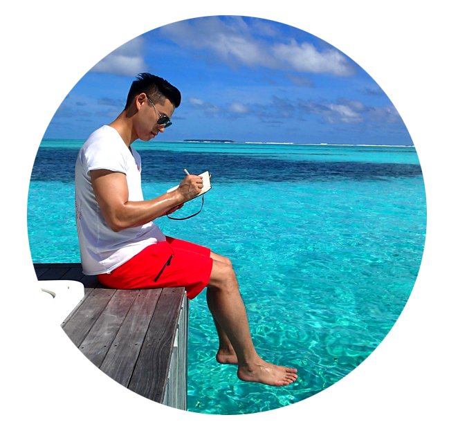 Writing in my adventure journal on a recent trip to the Maldives.  - T.L.