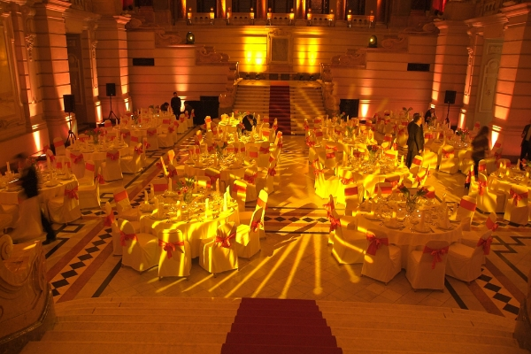 gala dinner with lighting set up