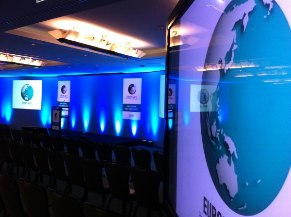 conference stage set and lighting