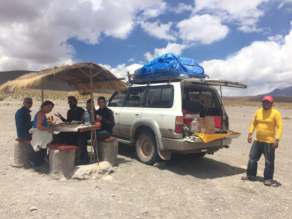 We went in a 4x4 Landcruiser for 3 days across the Salar. These are my new friends from Austria, Brazil, Germany, and of course our awesome Bolivian tour guide!
