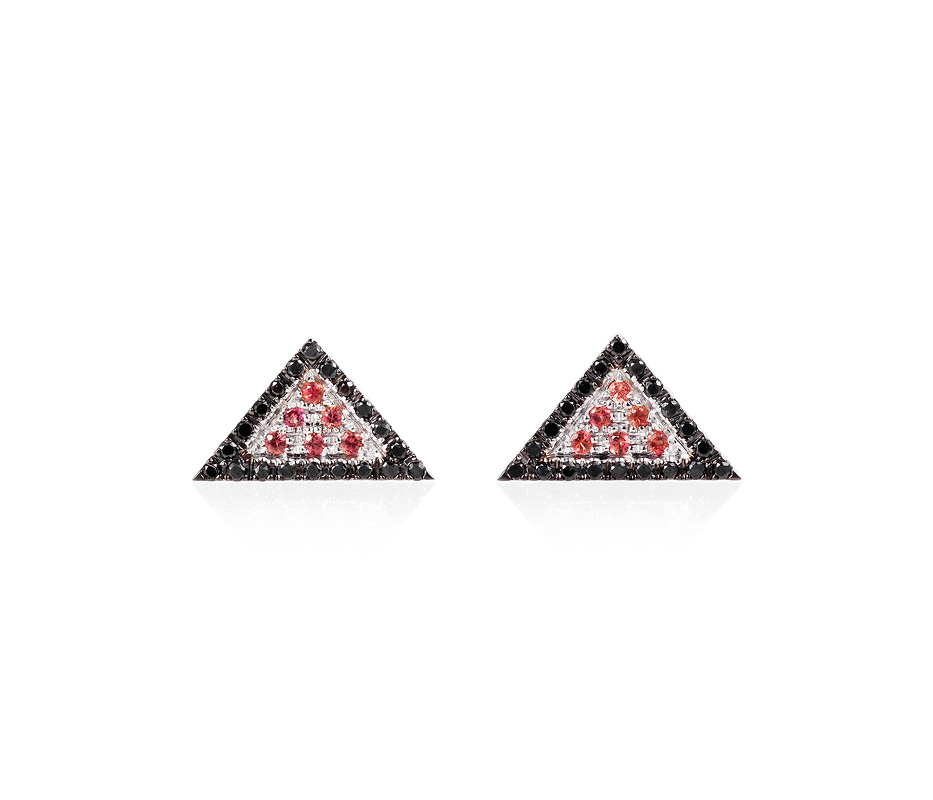 Black Trillion Earrings