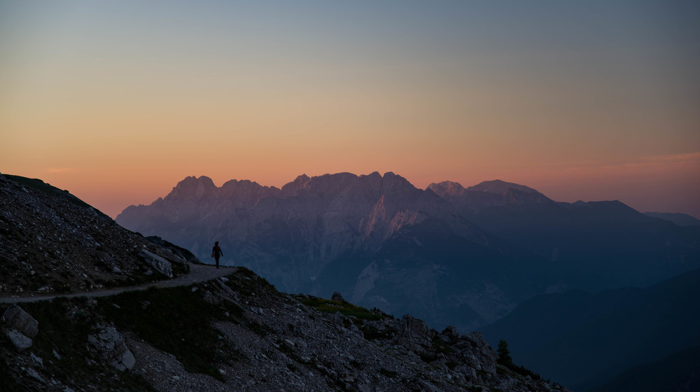 Sunrise while walking toward Monte Paterno, in the natural park of the Three Peaks of Lavaredo
