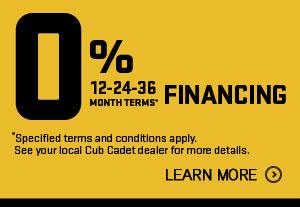0% Financing on Cub Cadet Zero Turns