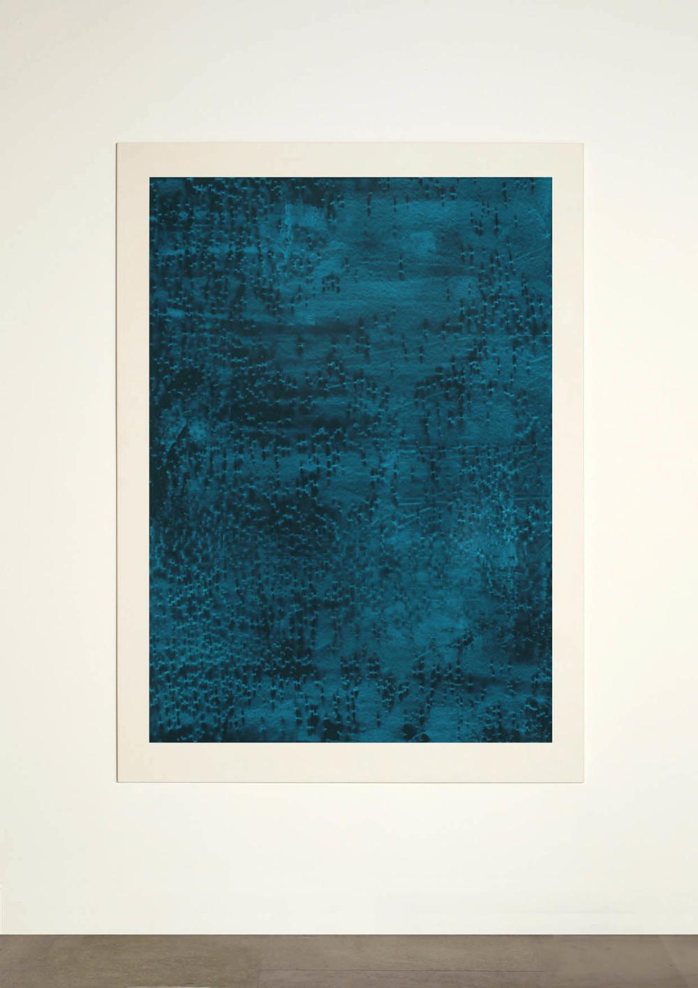CONTINUOUS NOW – turquoise (IV) 2012  pigment dispersal on 100% cotton fibre  147 x 108 cm