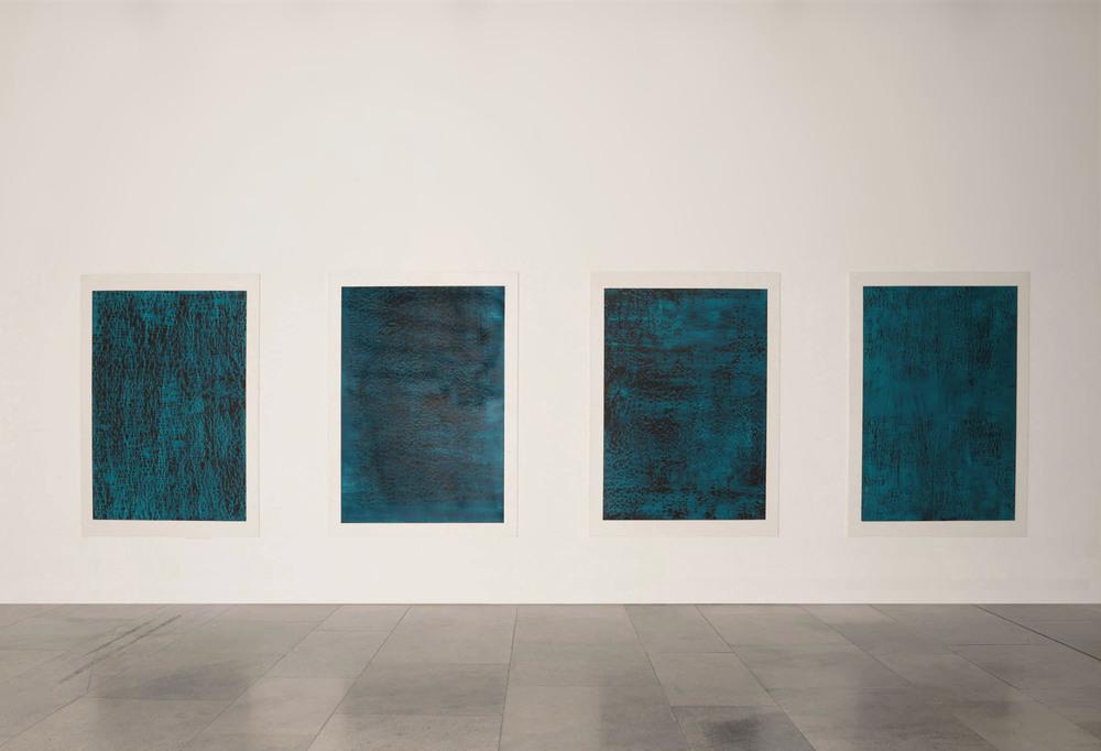 CONTINUOUS NOW – turquoise  series,2012  pigment dispersal on 100% cotton fibre  each piece: 147.0 x 108.0 cm