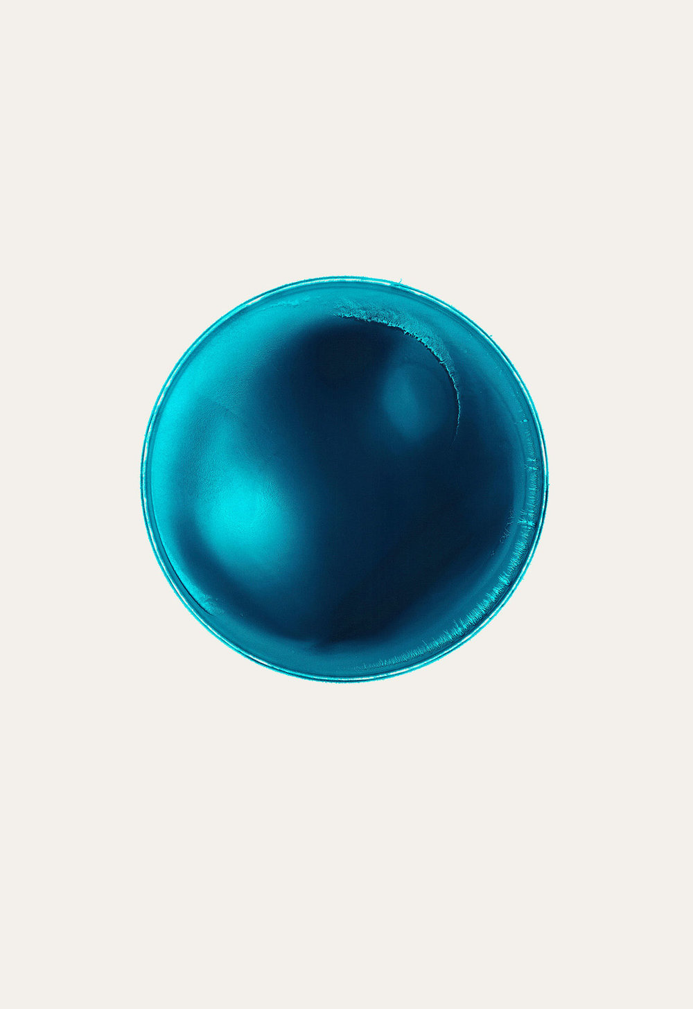 THIS IS NOW – turquoise (VI)  2010  pigment dispersal on 100% cotton fibre  101.0 x 73.7 cm, Ø 36.6 cm