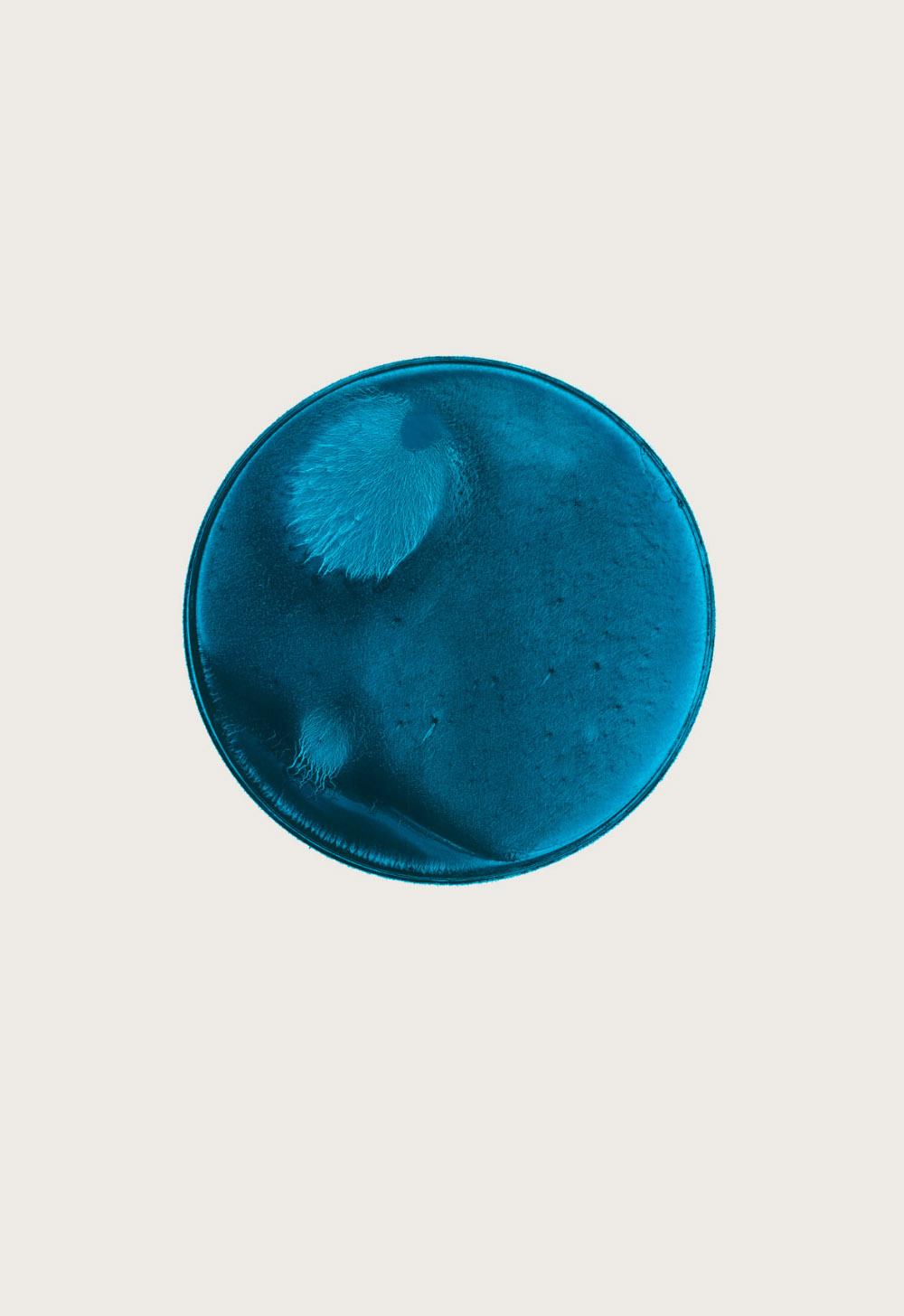 THIS IS NOW – turquoise (I)  2010  pigment dispersal on 100% cotton fibre   101.0 x 73.7 cm, Ø 36.6 cm