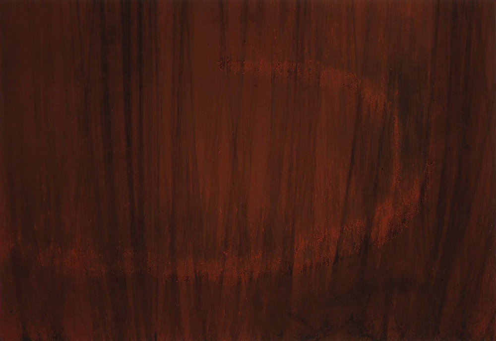 VEILED THRESHOLD  1999  burnt Sienna on carbon deposit  77.6 x 102.9 cm   (private collection UK)