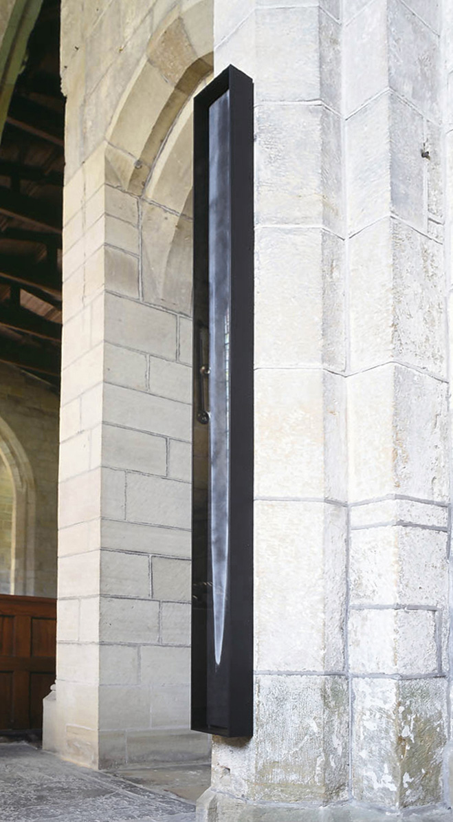 TOWER OF DUST (I)  2000  limestone powder on carbon deposit  200.0 x 16.5 x 8.0 cm   installation: All Saints Church, Harewood House     ' Within a Distant Prospect' 2001     (private collection UK)