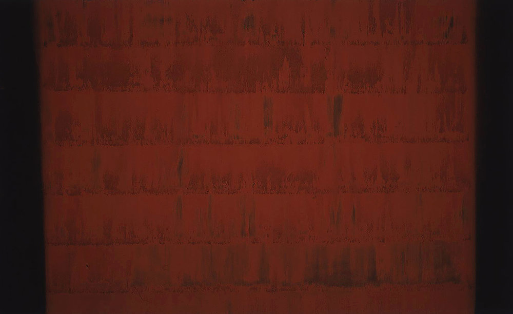 GATHERING (II)  1999  burnt sienna and carbon deposit  112.0 x 164.0 cm   (private collection UK)