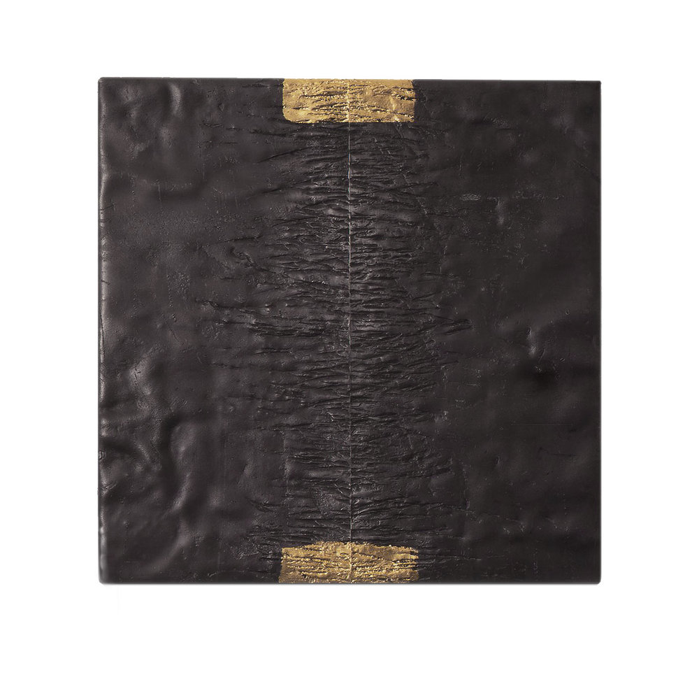 SOURCE  1996  lead with gold leaf  30.4 x 30.4 x 2.5 cm   (private collection Germany)