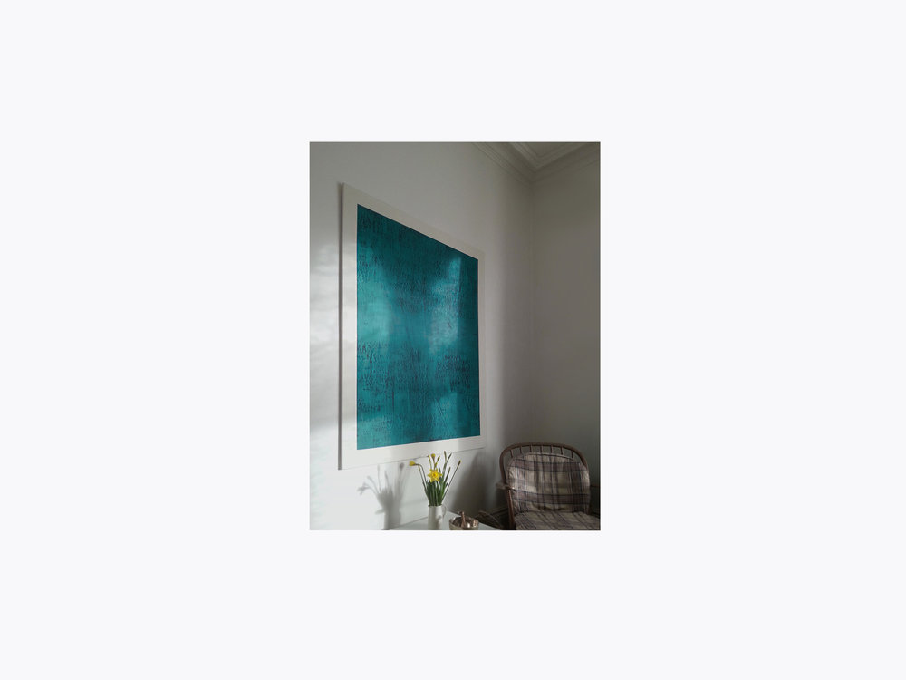 CONTINUOUS NOW – turquoise (III)  2012  pigment dispersal on 100% cotton fibre mounted on aluminium   (private collection UK)