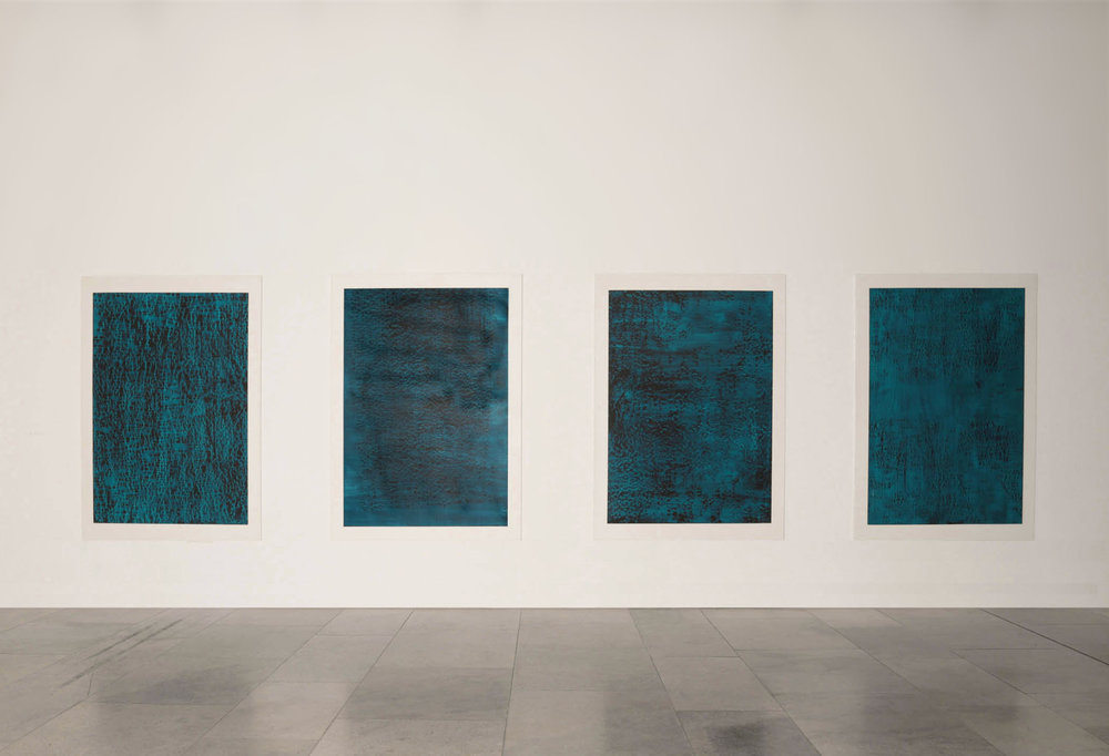 CONTINUOUS NOW – turquoise  series, 2012  pigment dispersal on 100% cotton fibre  each piece: 147 x 108 cm  Encounters Take Precedence     The Collection, Lincoln 2012