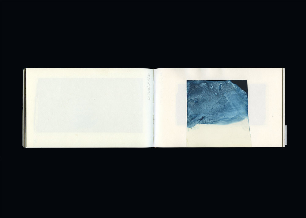 SKETCHBOOK  2013, pp. 81-82  pigment dispersal, aqueous polyester and bound paper  15.0 x 49.0 cm